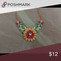 """Statement Necklace Brand new/never worn. 18"""" long with 2"""" extender. Beautiful color simulated stones. Gold metal. Paid $29. Jewelry Necklaces"""