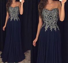 Navy Blue Prom Dresses,Chiffon Prom Dresses,A Line Prom