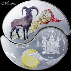 YEAR OF THE GOAT YING YANG COIN SET 2015 Fiji 1$ Silver Proof Color Coins & BOX