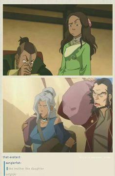 Legend of Korra/ Avatar the Last Airbender: Kya definitely resembles her mother. Avatar Aang, Avatar The Last Airbender Funny, The Last Avatar, Avatar Funny, Team Avatar, Avatar Airbender, Avatar Cartoon, Zuko, Fan Art