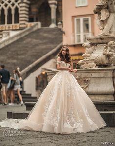 la petra 2019 bridal off the shoulder deep plunging sweetheart neckline full embellishment romantic princess blush ball gown a line wedding dress royal train (1) mv -- La Petra 2019 Wedding Dresses   Wedding Inspirasi #wedding #weddings #bridal #weddingdress #bride ~