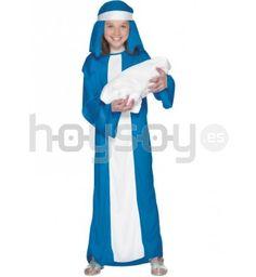 #Disfraz de #Virgen #María económico para niña. Este disfraz contiene túnica y pañuelo para la cabeza #Disfraces #Navidad #Colegio #Teatro