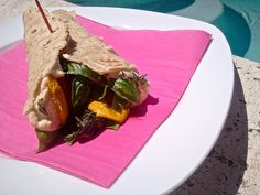 ULTIMATE VEGAN POOLSIDE SAMMY--ROASTED VEGGIE WRAP Grilled Zucchini, Hummus, and Basil wrap  www.Feastinthemiddleeast.com
