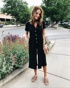 THE comfiest jumpsuit + studded sandal Warm Outfits, Cool Outfits, Summer Outfits, Fashion Outfits, Black Outfits, Looks Style, My Style, Lauren Kay Sims, Romper With Skirt