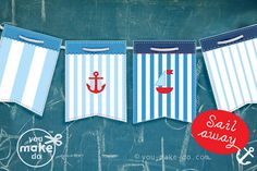 INSTANT DOWNLOAD nautical sailboat party banner - party printables.