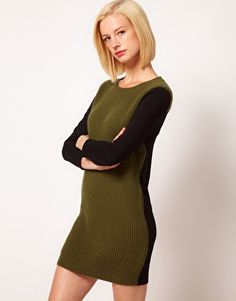 ASOS Jumper Dress In Knit And Jersey Mix