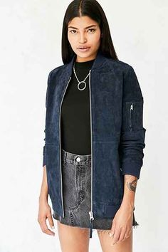 58614b9a2 OBEY Nomad Suede Bomber Jacket - Urban Outfitters Blue Suede Jacket