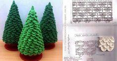 Patrones para tejer árbol de navidad al crochet en punto cocodrilo o punto escama