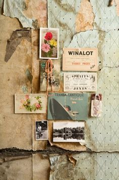 I love this idea but with an old map and postcards. Would look great over my old piano in the living room.