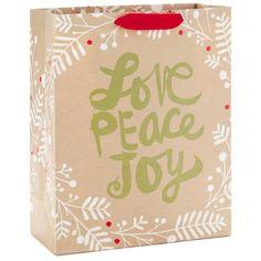 "Love Peace Joy Kraft X-Large Christmas Gift Bag, 15.5"""