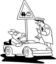 Policeman Patrol With Car Coloring Page