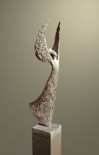 Aspirational / Inspirational Sculpture or Statues by sculptor artist Hans Grootswagers titled: 'Watching Over You (Modern bronze Guardian Angel Yard/garden statues)' in Bronse/coatedsteel/arduin, naturalstone