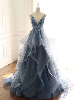 Blue Gray Tulle V Neck Long Ruffles Prom Dress, Lace Evening Dress from Sweethea. - Blue Gray Tulle V Neck Long Ruffles Prom Dress, Lace Evening Dress from Sweetheart Dress- Source by annikaephotos - Dresses Elegant, Cute Prom Dresses, Prom Outfits, Lace Evening Dresses, Dance Dresses, Pretty Dresses, Bridal Dresses, Lace Dress, Formal Dresses
