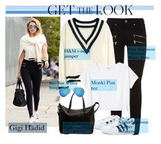 """""""Gigi Hadid - Get the look"""" by alexanderbrooks ❤ liked on Polyvore featuring Paige Denim, H&M, Monki, adidas, Marc by Marc Jacobs and Ray-Ban"""