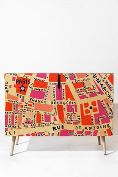 Holli zollinger paris map pink credenza deny designs home accessories mobil