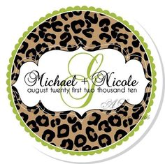 Personalized Stickers -- Leopard Print Wedding Monogram -- Personalized Wedding Labels, Address Labels, Shower, Thank You, Favors