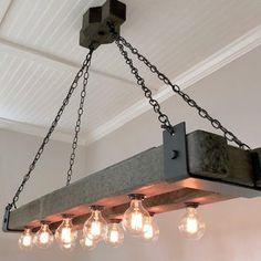 Edison Bulb Chandelier, Wooden Chandelier, Industrial Chandelier, Edison Bulbs, Industrial Style Lighting, Rustic Lighting, Home Lighting, Industrial Farmhouse Decor, Industrial Table