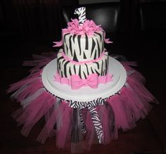Hot Pink Zebra Print 1st Birthday! - by Jaybugs_Sweet_Shop @ CakesDecor.com - cake decorating website
