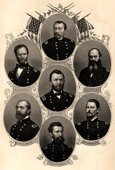 Civil War Union Generals: U.S. Grant in the center; starting at top going clockwise: P.H. Sheridan, D. ? Porter, W.S. Hancock, D. O. Howard, George G. Meade, W. T. Sherman.