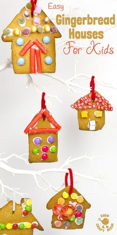 This easy gingerbread house recipe is great fun for the whole family. Forget the frustrations of 3D houses that fall down and make pretty 2D gingerbread houses instead. Just as pretty and delicious but without all the hassle! These cute gingerbread houses can be hung on the Christmas tree and given as gifts too. #christmas #christmasornaments #gingerbread #gingerbreadhouse #christmasrecipe #recipe #cookingwithkids #kidsrecipes #christmastreats Christmas Activities For Kids, Preschool Christmas, Craft Activities For Kids, Kids Christmas, Nursery Activities, Preschool Ideas, Craft Ideas, Easy Gingerbread House, Gingerbread Crafts
