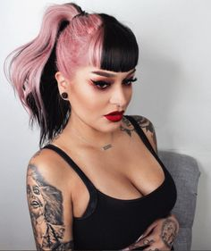 30 Picture-Perfect Styles For Pastel Pink Hair 25 – cabelo Hair Dye Colors, Cool Hair Color, Unique Hair Color, Two Color Hair, Funky Hair Colors, Under Colour Hair, Yellow Hair Color, Melt Cosmetics, Split Dyed Hair