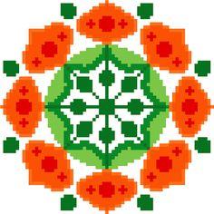 Chinese lantern flower mandala. Contemporary by crossstitchtheline
