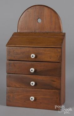 Description: Pine hanging spice cabinet, ca. 18 h., 10 w. Big Beautiful Houses, Beautiful Homes, Apothecary Cabinet, Wall Boxes, Primitive Antiques, 4 H, Art Object, Art Auction, Art Decor