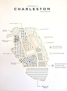 Blush + Gold Foil map print of the #Charleston Peninsula from 42Pressed at Mac & Murphy Southern Arrondissement: This.