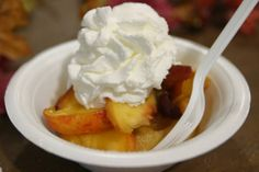 Waffle with fresh peaches from the Massachusetts Building at The Big E!