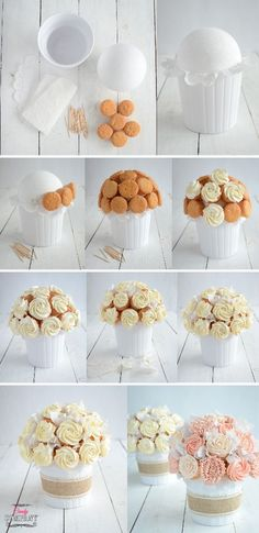 bukiet z babeczek cupcake bouquet DIY Cupcakes Design, Cake Designs, Cupcake Flower Bouquets, Flower Cupcakes, Food Bouquet, Cake Decorating Tips, Cookie Decorating, Cupcakes Flores, Cupcakes Amor