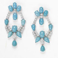 View An Exceptional Pair of Turquoise and Diamond Ear Pendants by sold at Jewels on 8 Dec 2009 New York. Diamond Earing, Diamond Jewelry, Edwardian Jewelry, Expensive Jewelry, High Jewelry, Turquoise Earrings, Jewels, Drop Earrings, December 7