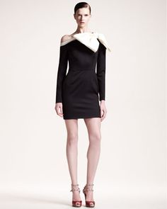Bow-Shoulder Long-Sleeve Dress by Valentino at Bergdorf Goodman. The dress look fun and the shoes are just extra saucy!!