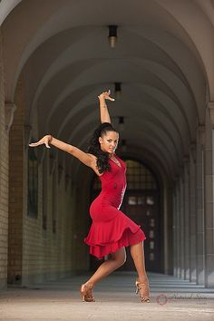 Natural Spin Signature Latin Dance Dresses:  LD24_Red