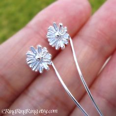 Sterling Silver. Cute small cosmos flower dangle stud earrings with long stems. Unique handmade jewelry by RingRingRing on Etsy.