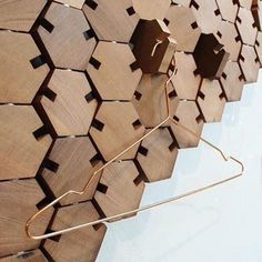 Wardrobe rack: hexagonal pieces of wood put together that when turned each piece it turns into a hanger by a dutch designer for Milan's Design Week 2014 Cute Furniture, Wooden Furniture, Furniture Design, Furniture Chairs, Diy Inspiration, Retail Design, Wood Design, Decoration, Creations