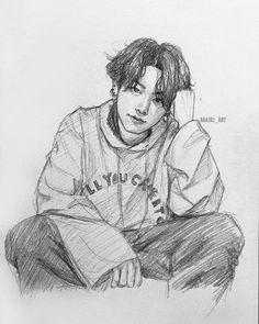 Image may contain: drawing Jungkook Fanart, Kpop Fanart, Bts Jungkook, Kpop Drawings, Art Drawings Sketches Simple, Pencil Art Drawings, Arte Sketchbook, Art Reference, Fan Art