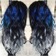 Blue and silver ombre colour