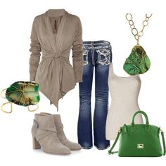 Taupe and Green