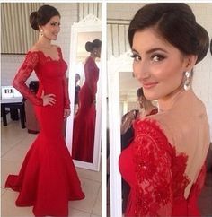 2014 red prom dress stunning sweetheart open back long sleeves lace meramid prom dress ED025