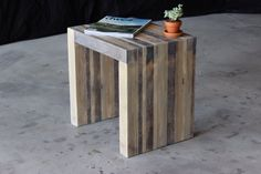 industrial modern bento side stool/table by on Etsy Modern Industrial Decor, Modern Decor, Rough Wood, Reception Seating, Conference Table, Modern Dining Table, Wooden Art, Minimalist Home, End Tables