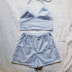 Candy striped bralet and shorts two piece / co ord. uk sizes 4-18. (Other colours available) Made to order.