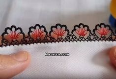 This Pin was discovered by Şöh Needle Tatting, Needle Lace, Bobbin Lace, Needle And Thread, Crochet Trim, Filet Crochet, Crochet Boarders, Simple Embroidery Designs, Viking Tattoo Design