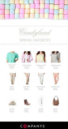 COMPANYS presents the spring favorites  Mit den leuchtigen Farben der spring collection 2013 setzen sie Akzente und bringen Farbe in ihren Kleiderschrank.