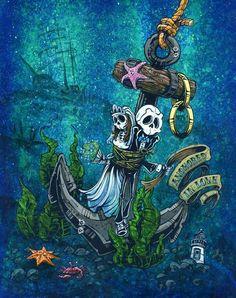 Día de los muertos Artista David Lozeau, Anclado en el amor, Día de los muertos Arte, Diámetro de los Muertos Arte, Arte del cráneo del azúcar, Cráneo del caramelo, Arte del cráneo, Arte del esqueleto