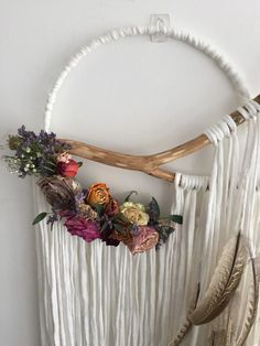 Large handmade wishbone Dreamcatcher with dried floral arrangement. Hand carved ethically sourced wood. Made with cotton and naturally sourced