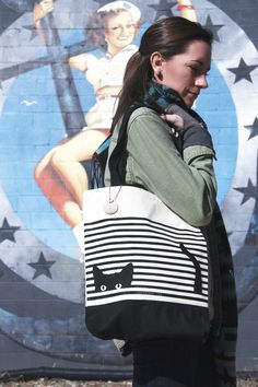 Cat Stripes Tote by Seltzer Goods