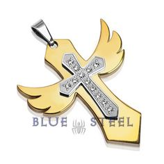 PIN IT TO WIN IT! Angelic Cross: The Angelic Cross with a multi-gem cross in the middle makes this pendant a true embodiment of protection.      $39.99  www.buybluesteel.com