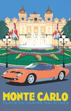 Vintage Style Travel Poster 'Lamborghini Miura – Monte Carlo, Casino Square' by Charles Avalon - Vintage car posters - Art Deco - Pullman Editions - Lamborghini Auto Poster, Poster Art, Design Poster, Car Posters, Lamborghini Miura, Monte Carlo, Dibujos Pin Up, Illustrations Vintage, Plakat Design
