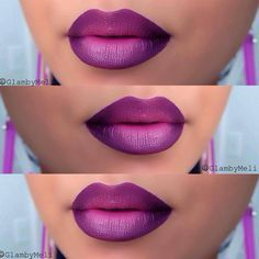 Deep Purple Ombre Lips images ideas from Beautiful Makeup Photos Purple Ombre, Deep Purple, Dark Ombre, Magenta, Pretty Makeup, Love Makeup, Lipstick Colors, Lip Colors, Lipstick Ombre