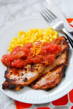 These Grilled Pork Chops with Orange Rhubarb Sauce are the perfect excuse to fire up the grill. It's a quick and easy meal that is ready in under 30 minutes and the flavor is amazing! This is one of my favorite summer recipes because not only is it super easy to make, it includes a vegetable that I don't think gets the attention it deserves. Spoon a generous serving of the rhubarb orange sauce on each pork chop and serve with rice, stuffing, corn, or potatoes for a delicious meal.